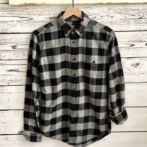 Merona Black Gray Plaid Flannel Button Down Shirt